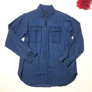 J. Crew Black Label Chambray Button Blouse